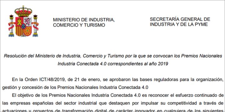 Premios Industria Conectada 4.0  Ministerio de Industria, Comercio y Turismo España