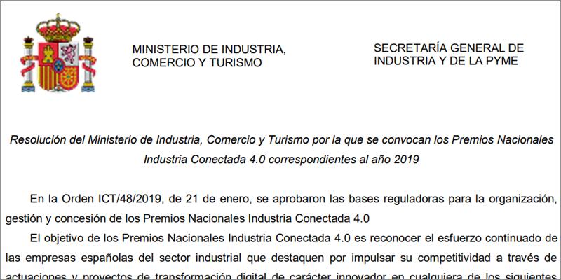 abre-plazo-presentacion-candidaturas-1-edicion-premios-nacionales-industria-conectada-4-0-ministerio-industria