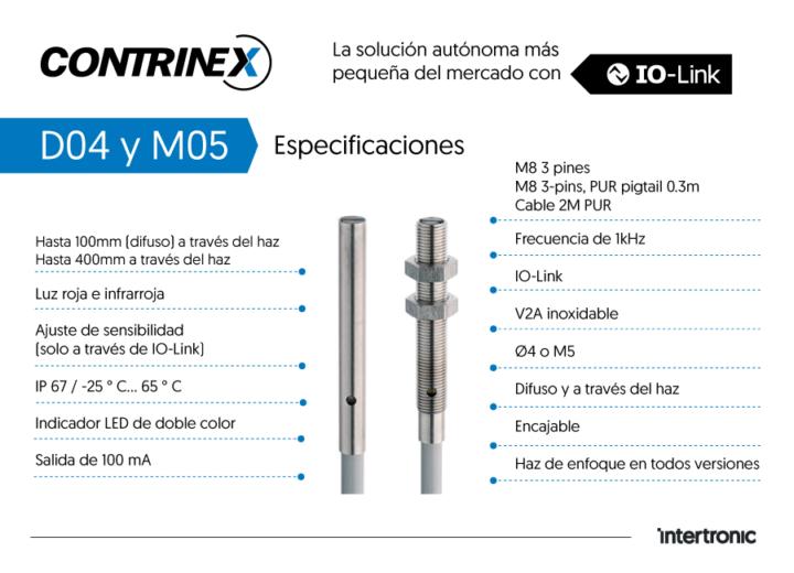 Especificaciones sensores miniatura fotoeléctricos miniatura Contrinex